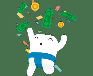 Sumo guy happy with money