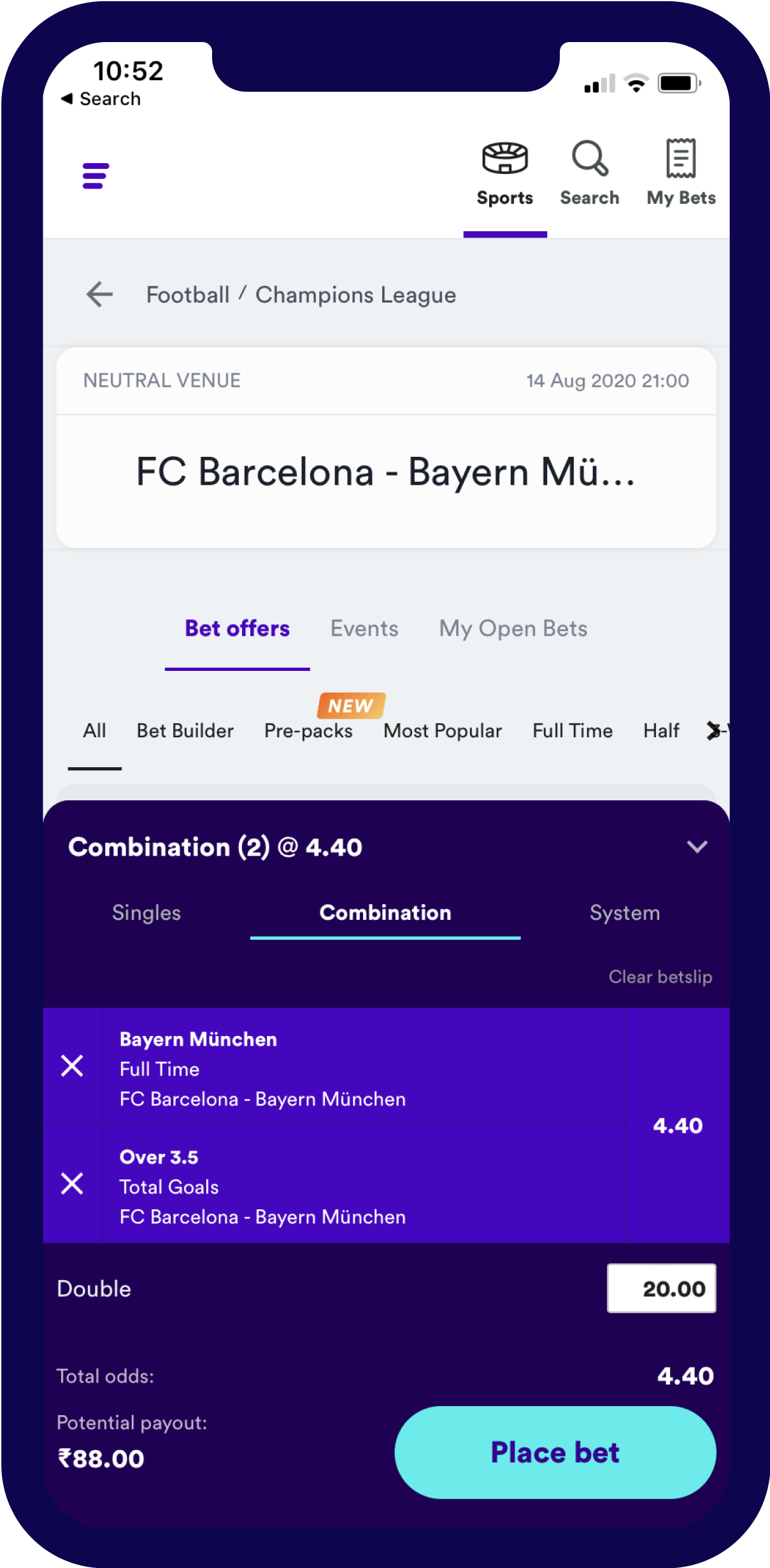Sports IN - bet builder
