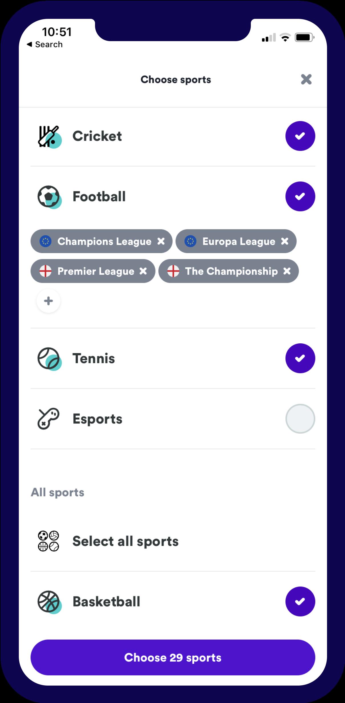 Sports IN - Customisation